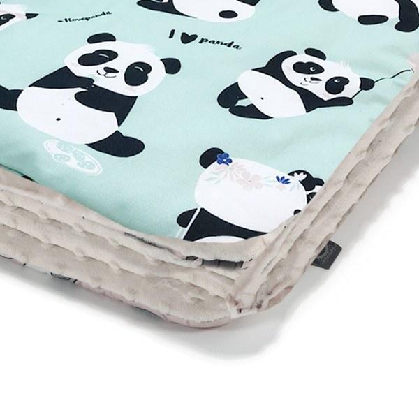 La Millou 暖膚豆豆毯-胖達功夫熊(綠底)-雲朵白