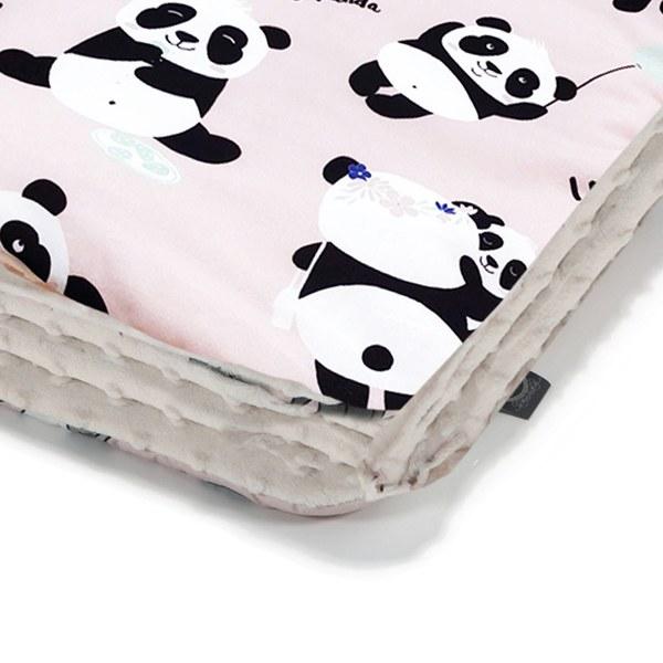 La Millou 暖膚豆豆毯(加大款)-胖達功夫熊(雲朵白)