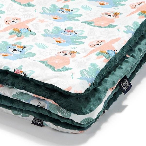 La Millou 暖膚豆豆毯-瑜珈珈樹懶(藍綠愛琴海)