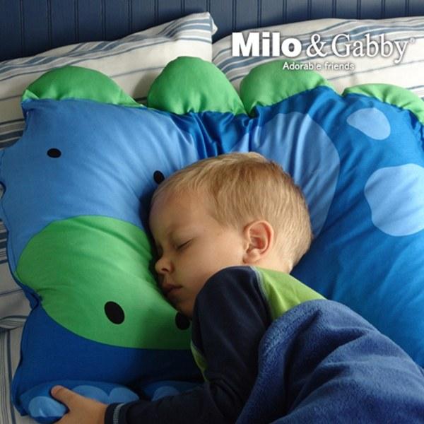 【此商品為預購品,於4/10起出貨】Milo & Gabby 動物好朋友-超細纖維防蟎大枕心+枕套組(DYLAN恐龍)