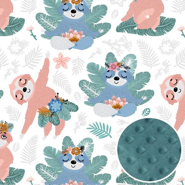 La Millou 單面巧柔豆豆毯-瑜珈珈樹懶(藍綠愛琴海)