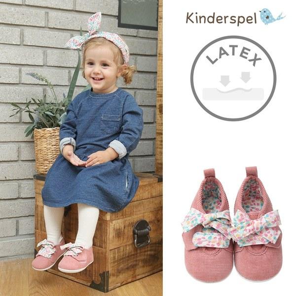Kinderspel Latex 牛仔皮感學步鞋(蝴蝶結粉)