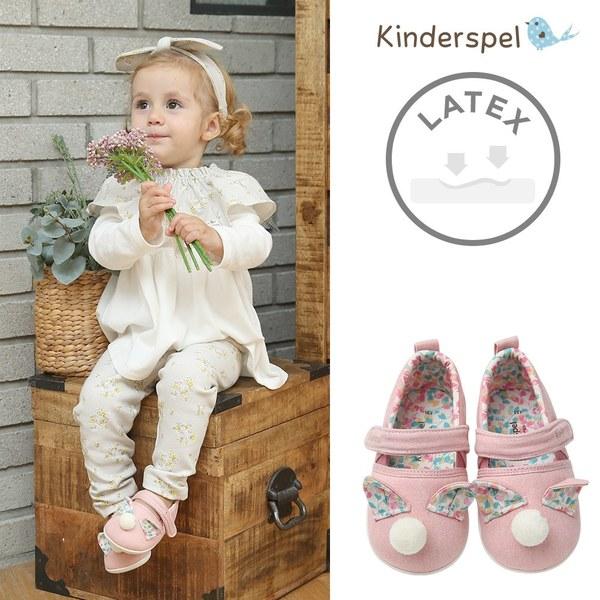 Kinderspel Latex 牛仔皮感學步鞋(毛球粉)