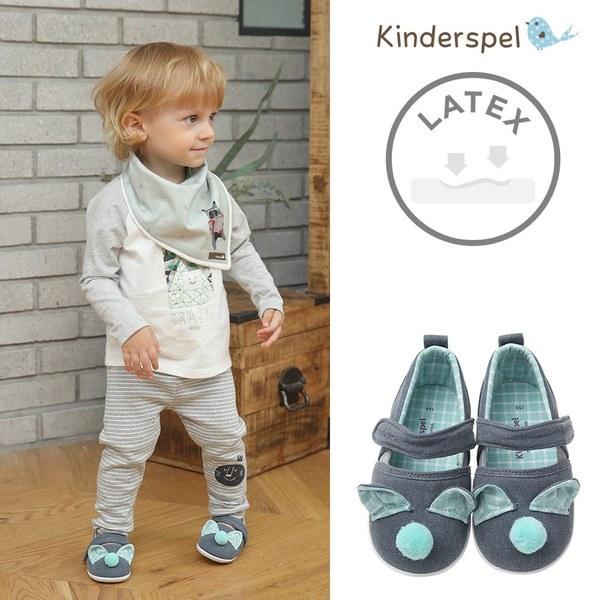 Kinderspel Latex 牛仔皮感學步鞋(毛球藍)