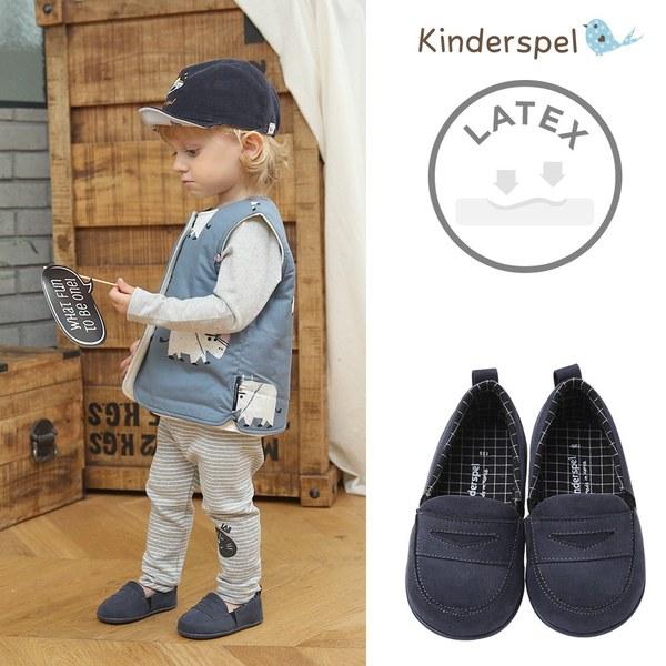 Kinderspel Latex 牛仔皮感學步鞋(海軍藍)