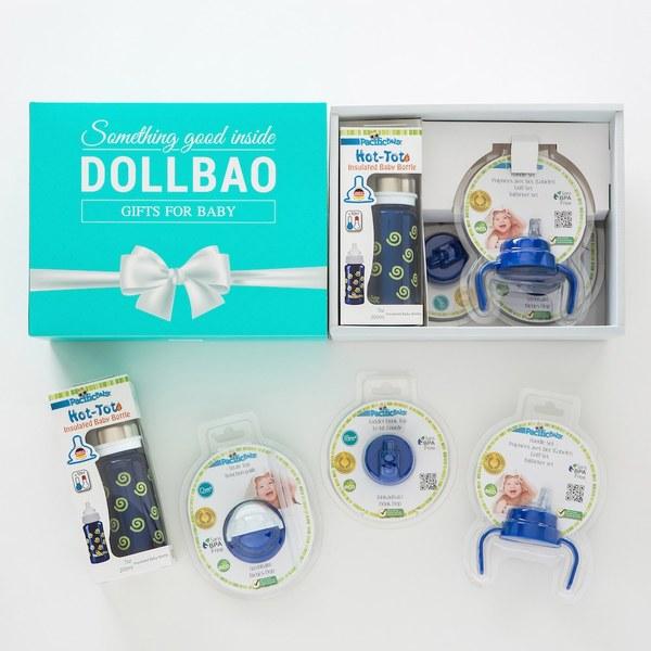 【DollBao質感緞帶大禮盒】 Pacific Baby 美國不鏽鋼保溫奶瓶_7oz全階段四件組-附質感雪白卡片