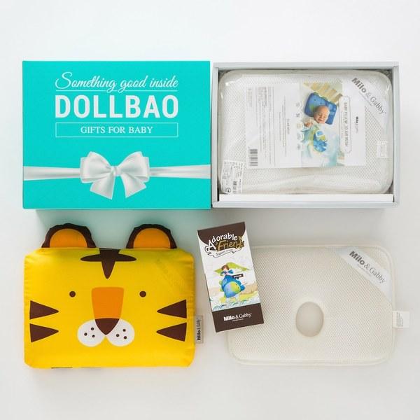 【DollBao質感緞帶大禮盒】Milo& & Gabby 動物好朋友-超透氣防扁頭3D嬰兒枕心+枕套組-附質感雪白卡片
