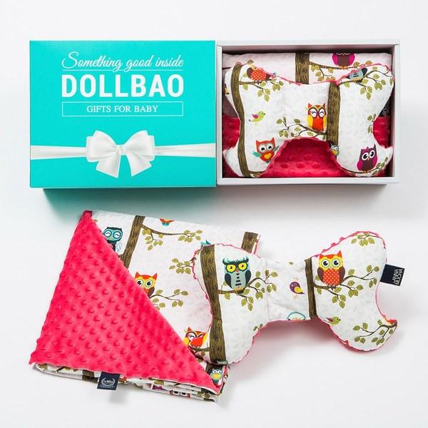 【DollBao緞帶彌月禮盒】La Millou 天使枕+單面巧柔豆豆毯-附質感雪白卡片