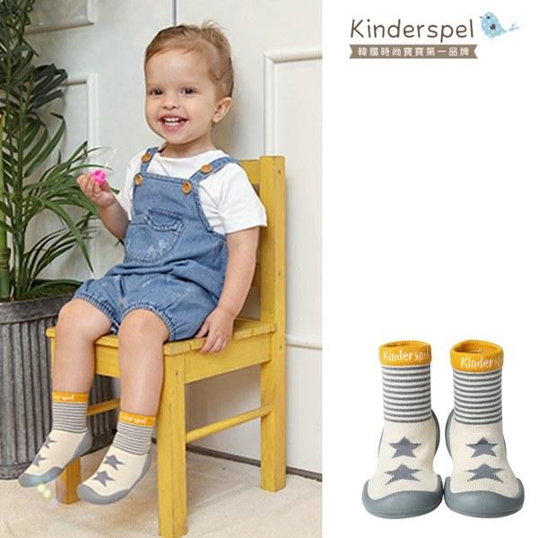 Kinderspel 輕柔細緻.套腳腳襪型學步鞋(13CM)-條紋星星灰