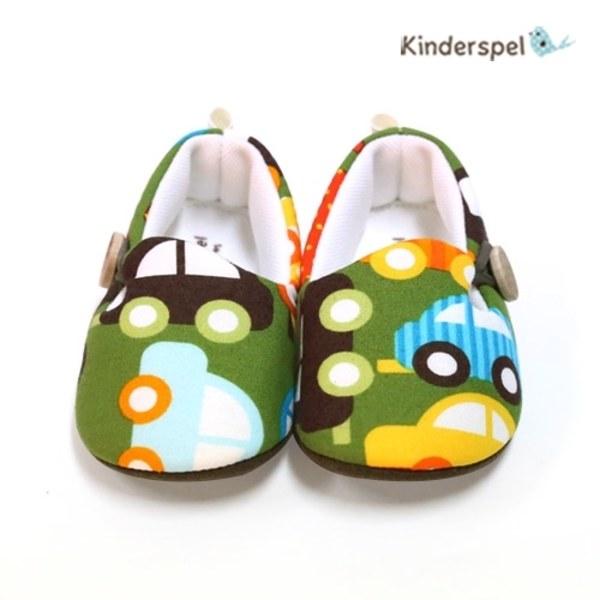 Kinderspel 設計師款‧寬頭柔軟學步鞋 (夢想噗噗車)