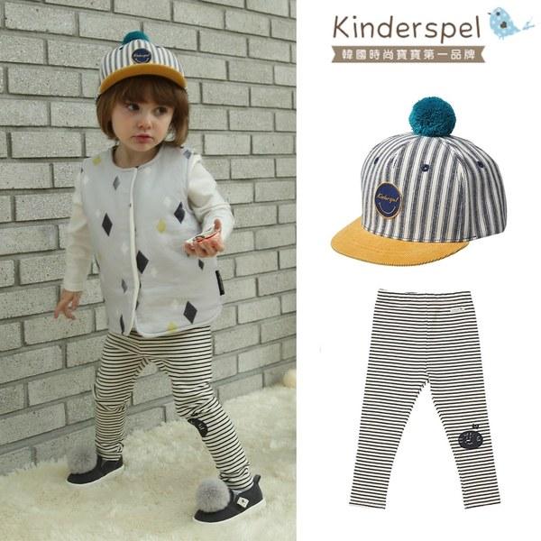 【超萌春裝穿搭指南】Kinderspel 可愛球球帆布帽+內搭褲(條紋黑+條紋黑)