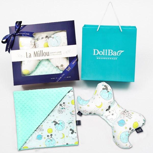 【彌月禮盒】La Millou 米奇系列_DollBao夢想款_天使枕+單面巧柔豆豆毯-粉嫩糖果綠