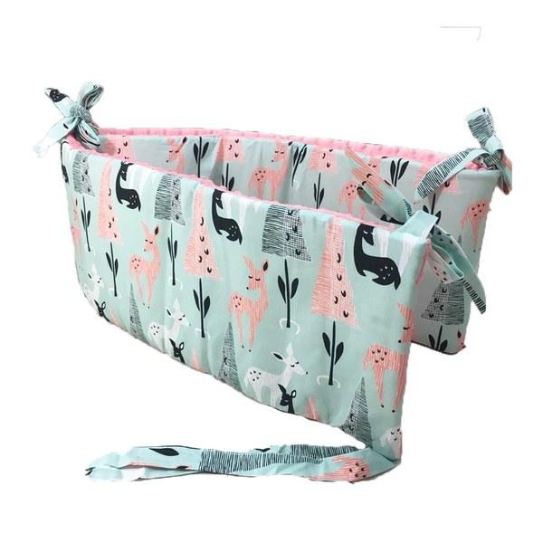 La Millou 拉米洛100%純棉床圍護欄-限量款小鹿斑比(綠底)-夢幻珊瑚粉