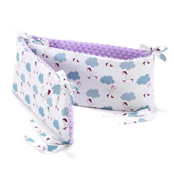 La Millou 拉米洛100%純棉床圍護欄-雨點達達鴨(粉紫馬卡龍)