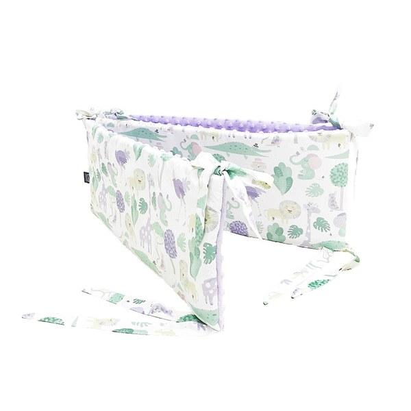LaMillou 拉米洛100%純棉床圍護欄-動物探險隊(紫底)-粉紫馬卡龍