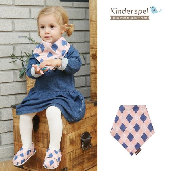 Kinderspel 繽紛時尚‧有機棉圍兜領巾 (英倫粉菱格)