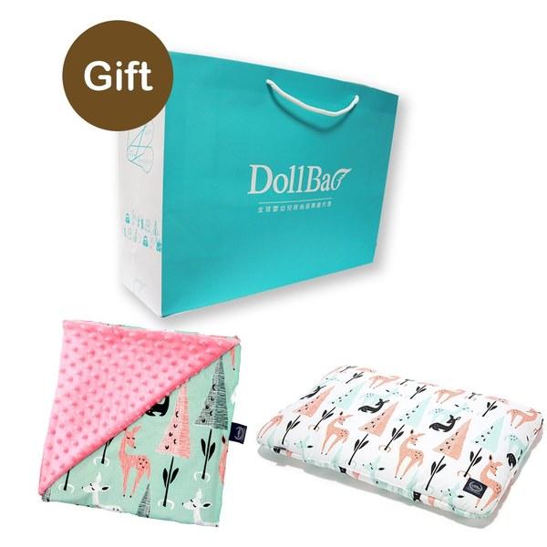 La Millou 送禮套組(竹纖小童方枕+單面巧柔豆豆毯)-贈送禮提袋