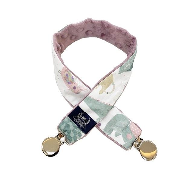 La Millou 豆豆多功能防掉夾(50cm)-動物探險隊(粉底)-法式香檳紫