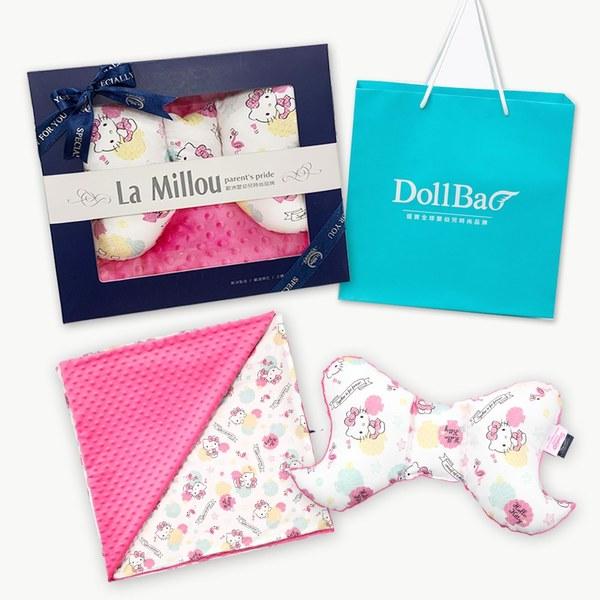 【彌月禮盒】La Millou 天使枕+單面巧柔豆豆毯(Hello Kitty貝殼公主篇-桃氣小甜心)