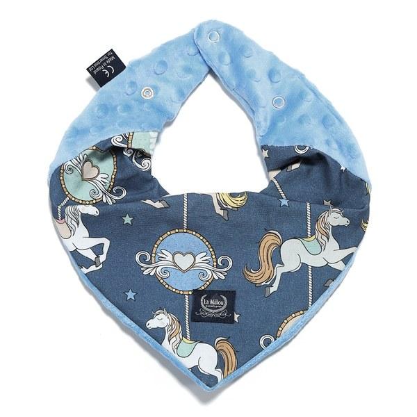La Millou 豆豆圍兜領巾-旋轉小木馬(藍底)-蒙地卡羅藍