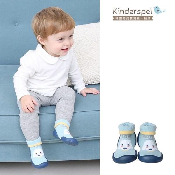 Kinderspel 輕柔細緻.套腳腳襪型學步鞋(13CM)-粉藍捲捲毛