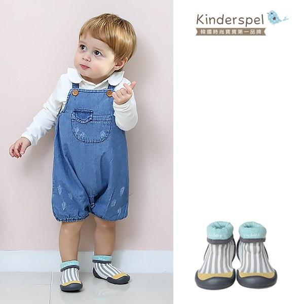 Kinderspel 輕柔細緻.套腳腳襪型學步鞋(13CM)-薄荷條紋灰