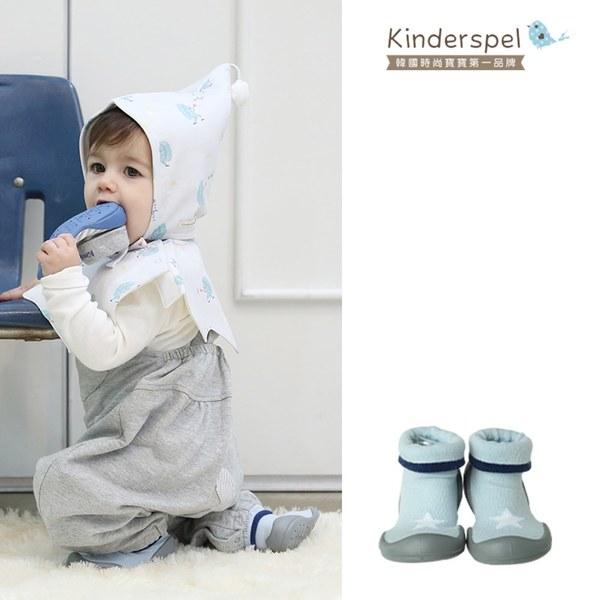 Kinderspel 輕柔細緻.套腳腳襪型學步鞋(13CM)-星星天空藍
