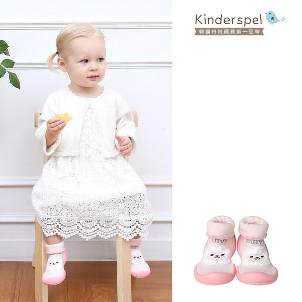 Kinderspel 輕柔細緻.套腳腳襪型學步鞋(13CM)-粉紅羊咩咩