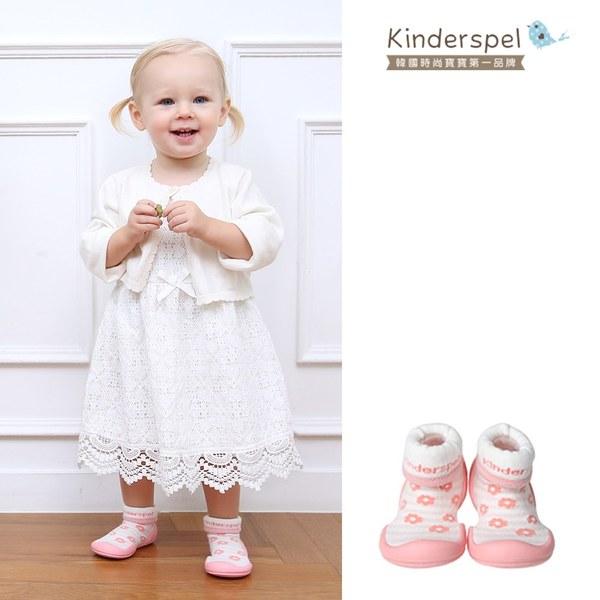 Kinderspel 輕柔細緻.套腳腳襪型學步鞋(13CM)-粉紅花朵朵