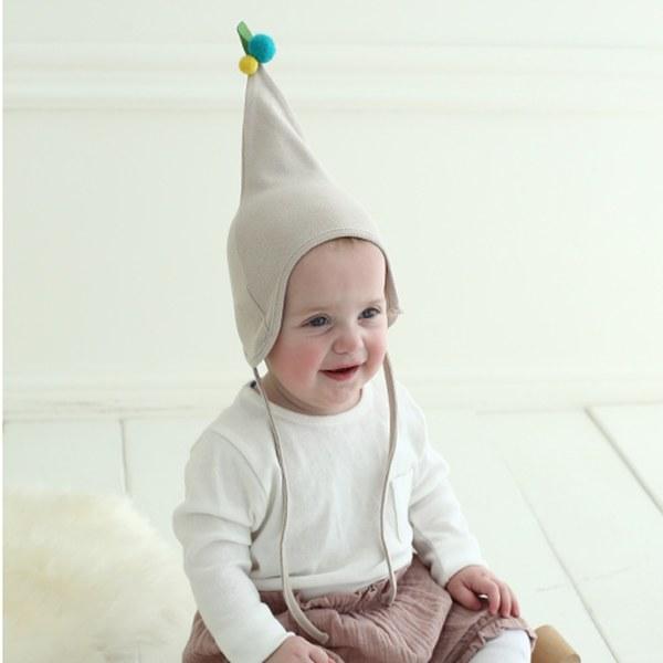 Kinderspel 魔法精靈‧正韓櫻桃嬰兒棉帽 (可可米)