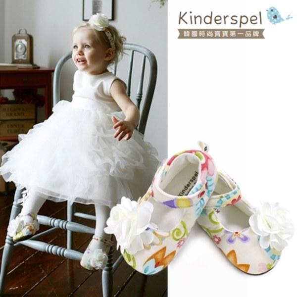 Kinderspel 設計師款‧寬頭柔軟學步鞋 (氣質小畫家-精緻花)