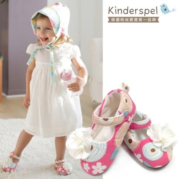 Kinderspel 設計師款‧寬頭柔軟學步鞋 (粉紅棒棒糖-精緻花)