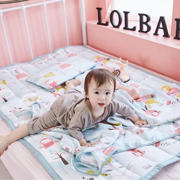 【韓國 lolbaby】Rayon防靜電‧輕薄柔軟三合一枕被床墊組(繽紛動物園)