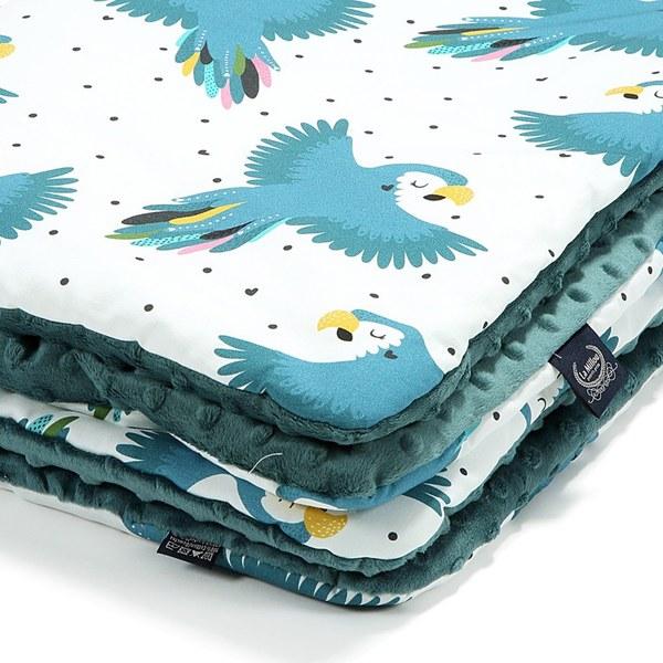 La Millou 暖膚豆豆毯-心心鸚鵡(藍綠愛琴海)