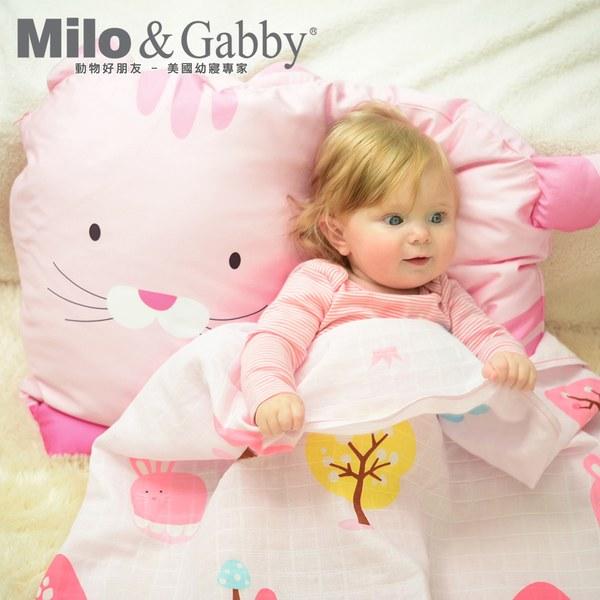 【此商品為預購品,於4/10起出貨】Milo & Gabby 動物好朋友-超細纖維防蟎大枕心+枕套組(NANCY貓咪)