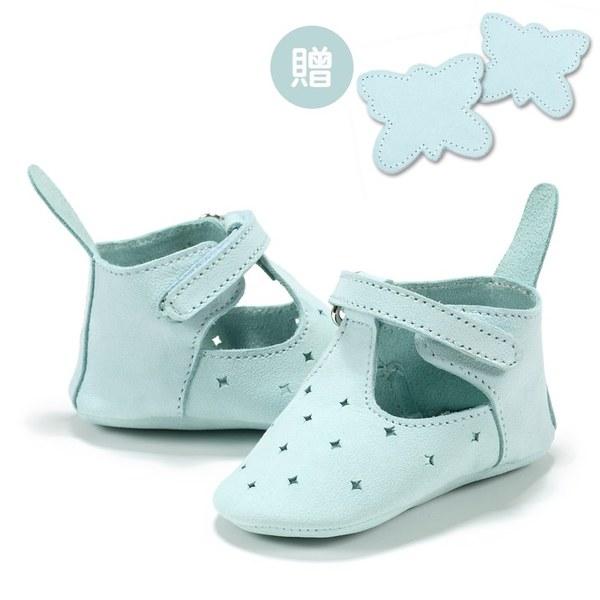 【此商品9/18起陸續出貨】La Millou Moonies頂級羊皮嬰兒鞋禮盒6-11m_魔鬼氈款(薄荷)