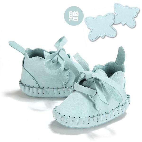 【此商品9/18起陸續出貨】La Millou Moonies頂級羊皮嬰兒鞋禮盒6-11m_綁帶款(薄荷)