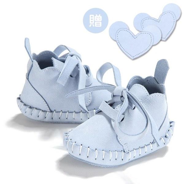 【此商品9/18起陸續出貨】La Millou Moonies頂級羊皮嬰兒鞋禮盒6-11m_綁帶款(蘇打)