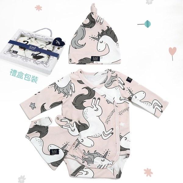 La Millou 新生兒彌月禮包屁衣帽巾全套組_3-6m-童話獨角獸