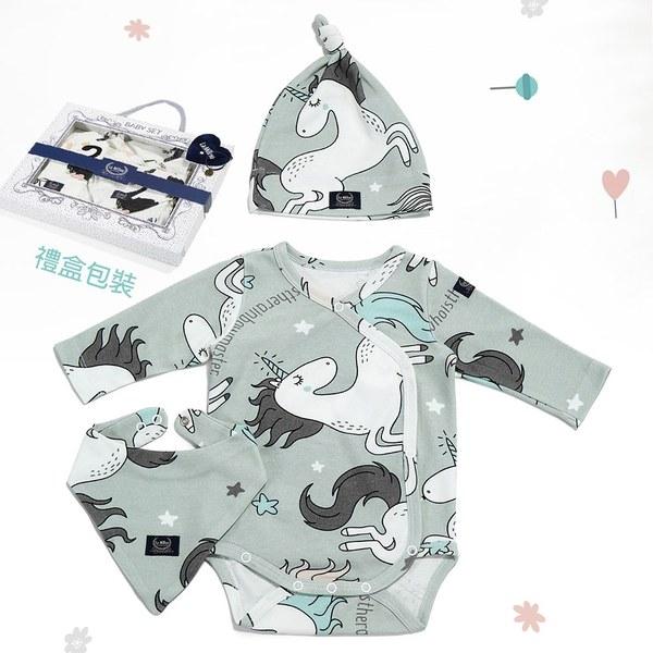 La Millou 新生兒彌月禮包屁衣帽巾全套組_3-6m-童話獨角獸(綠底)