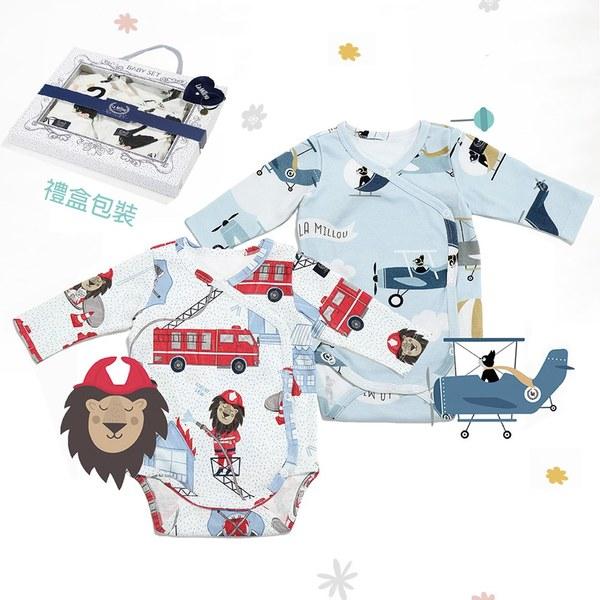 La Millou 新生兒彌月禮包屁衣2件組_3-6m-打火小英雄(藍底)+法鬥飛行員