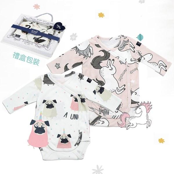 La Millou 新生兒彌月禮包屁衣2件組_3-6m-小巴哥憂憂+童話獨角獸