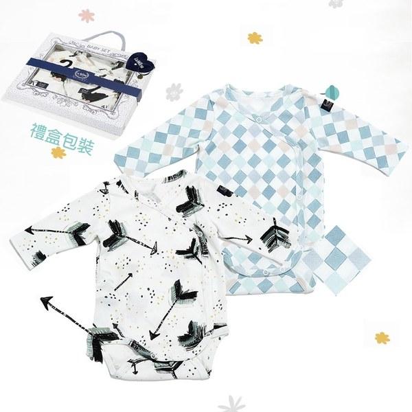 La Millou 新生兒彌月禮包屁衣2件組_3-6m-丘比特之箭(皇家)+La Millou菱格紋
