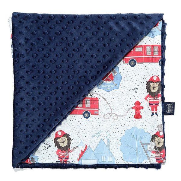 La Millou 單面巧柔豆豆毯(加大款)-打火小英雄(藍底)-勇氣海軍藍