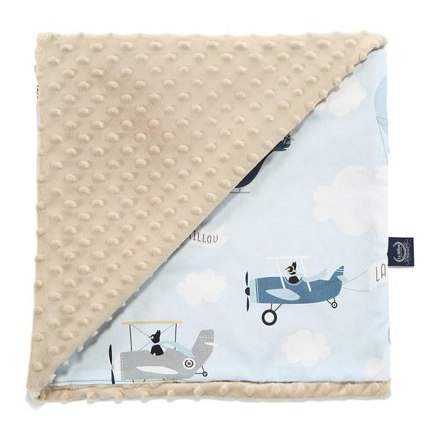 La Millou 單面巧柔豆豆毯(加大款)-法鬥飛行員(焦糖蜜斯朵)