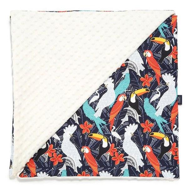 La Millou 單面巧柔豆豆毯-華麗鸚鵡(雲朵白)