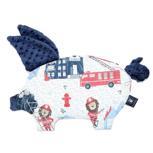 La Millou 豆豆小豬枕-打火小英雄(藍底)-勇氣海軍藍