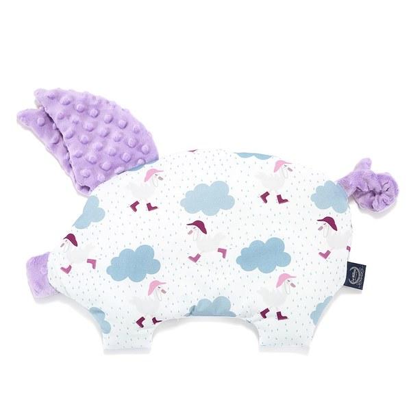 La Millou 豆豆小豬枕-雨點達達鴨(粉紫馬卡龍)