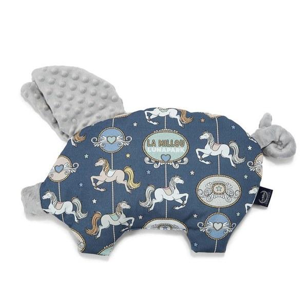 La Millou 豆豆小豬枕-旋轉小木馬(藍底)-牛奶星空灰