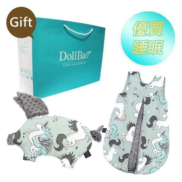 La Millou 送禮套組(豆豆小豬枕+豆豆防踢被背心-70cm幼童款)-贈送禮提袋